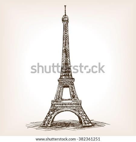 Eiffel Tower sketch style vector illustration. Old engraving imitation. Eiffel Tower landmark hand drawn sketch imitation