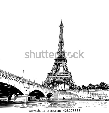 eiffel tower vector sketch....