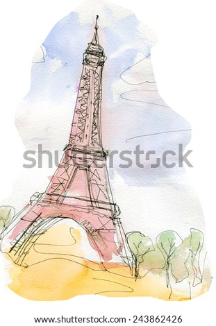 eiffel tower water color