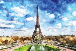 Eiffel tower watercolor painting with vector illustration format. You can feel the beauty and sweet memories in this painting. You can use it for decoration and wall decoration in your room