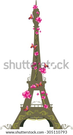 eiffel tower with flowers and