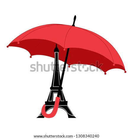 eiffel tower with red umbrella