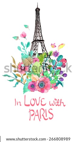 eiffel tower with watercolor