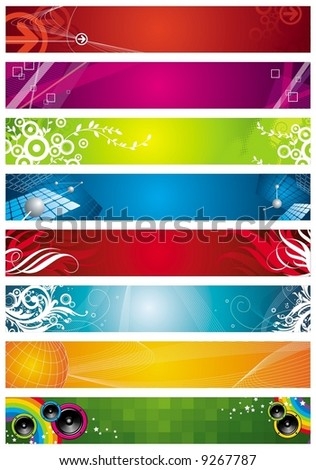 Eight banners on different themes multi-coloured