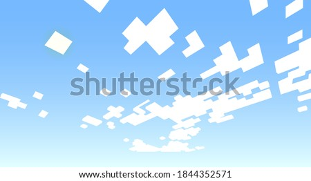 Eight-bit blue sky background with white pixel clouds on it. Background, a pattern in the style of eight-bit video games. Vector illustration