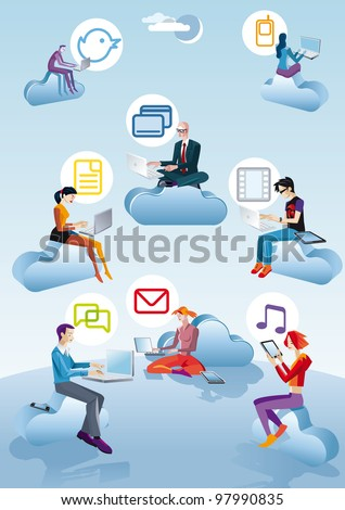 Eight character (four Men ans four women) flying and working between clouds. They are working with computers, smar tphones and tablets. Next to each person appears an icon related to internet.