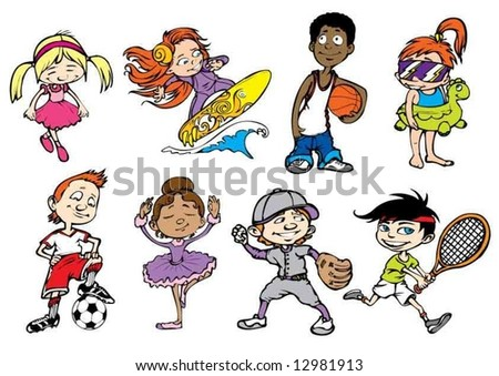 Eight colorful sport children characters - stock vector