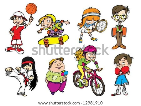 Eight colorful sport kids characters