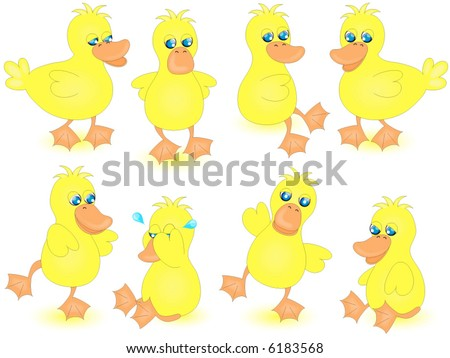 Eight cute yellow ducks with different expressions in multiple positions.Vector.