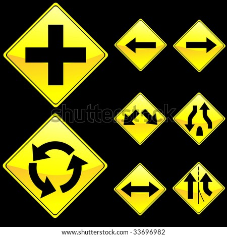 Eight Diamond Shape Yellow Road Signs Set 2