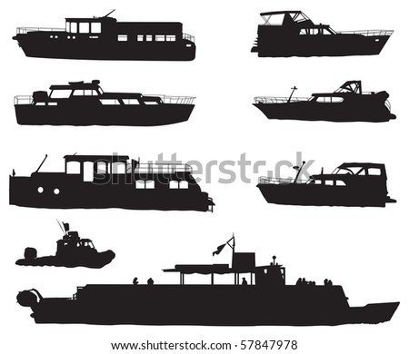 Eight different ship silhouettes isolated on white background. Vector illustration.