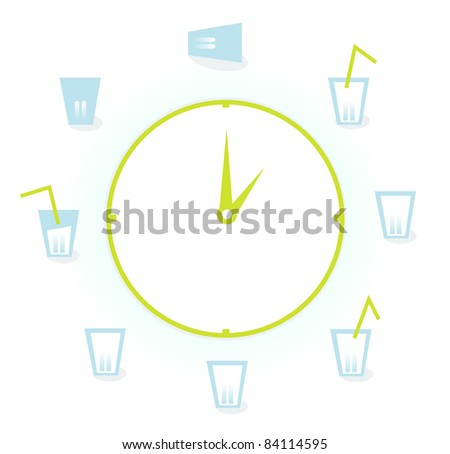 Eight glasses of water per day isolated on white Drink! Vector Illustration of a clock with 9 Glasses of fresh water drinks for health!