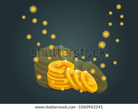 Eight Gold coins vector EPS10 icon with dollar sign. on dark Background. Vector illustration.