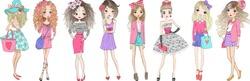 Eight hand drawn beautiful cute cartoon summer fasshion girls. Vector illustration.