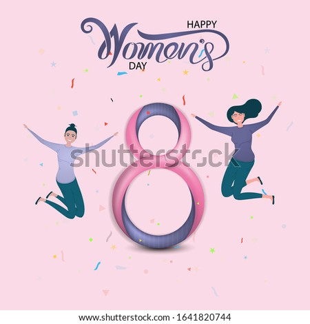 Eight Icon with Pink Happy International Women's Day Design Elements.International Women's day symbol.Vector illustration.Design for international women's day