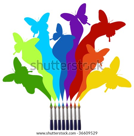 Eight paint brushes drawing a colorful rainbow of a butterfly swarm.  White background