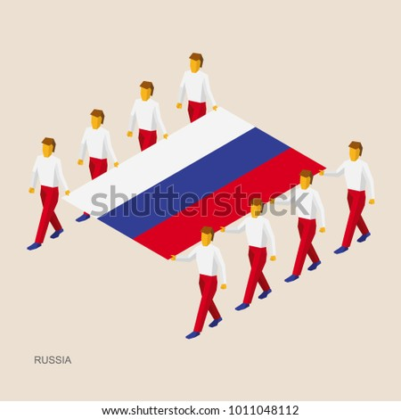 Eight people hold big flag of Russian Federation. 3D isometric standard bearers. Russia sport team. Simple vector illustration for infographic.