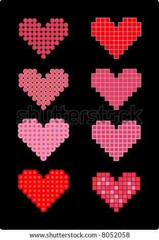 Eight pixelated love hearts. Four hearts were created with round pixels, the others with square pixels.