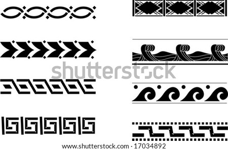 eight simple monochrome vector ornaments