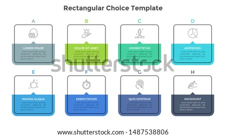 Eight square elements or rectangular frames placed in horizontal row. Visualization of 8-stepped business process. Simple infographic design template. Flat vector illustration for presentation, report
