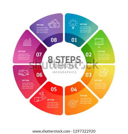 Eight steps infographics - can illustrate a strategy, workflow, team work, timeline etc.