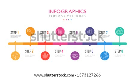 Eight steps infographics, timeline - can illustrate a strategy, workflow, team work or company milestones