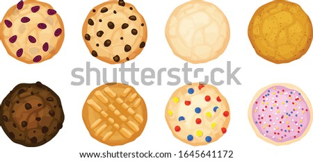 Eight various cookies in a flatlay view. Oatmeal raisin, chocolate chip, sugar, snickerdoodle, fudge, peanut butter, candy, and frosting and sprinkle cookies. Isolated vector illustrations. Сток-фото ©