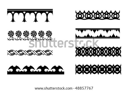Eight vector monochrome ornaments