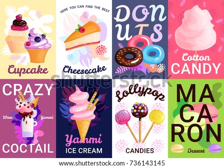 Eight vertical trendy sweets posters banner set with cupcake cheesecake droughts cotton candy crazy cocktails yammi ice cream descriptions vector illustration