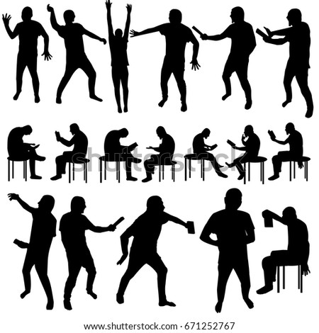 Eighteen black silhouettes of man over white background