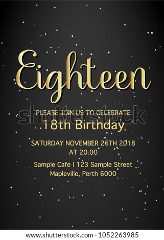 Eighteen invitation card. 18th birthday party vector template.