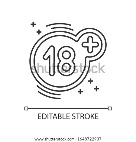 Eighteen plus pixel perfect linear icon. Thin line customizable illustration. Adults only restriction contour symbol. Mature content warning. Vector isolated outline drawing. Editable stroke