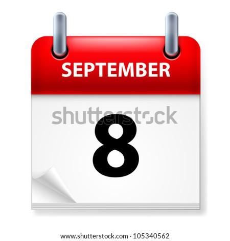 Eighth September in Calendar icon on white background