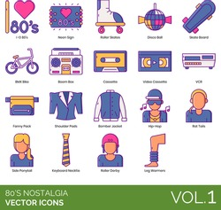 Eighties nostalgia icons including i love 80s, neon sign, disco ball, skate board, bmx bike, boom box, video cassette, vcr, fanny pack, shoulder pads, bomber jacket, hip-hop, rat tail, side ponytail.