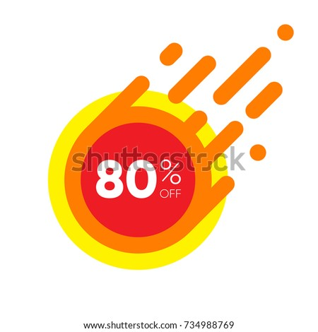 Eighty percent OFF Sale Discount Banner. Special offer red label. Flat designed Sticker Illustration