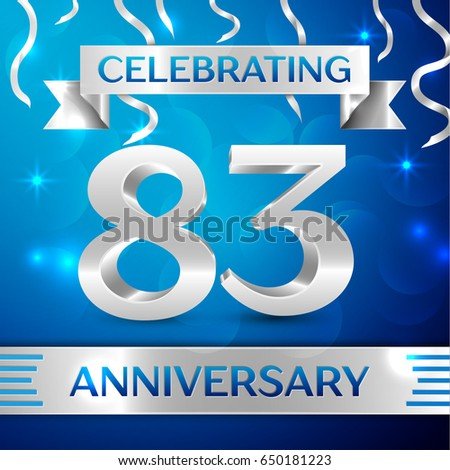 eighty three years anniversary celebration design confetti and silver ribbon on blue background