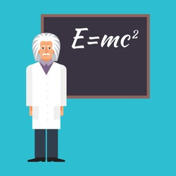 Einstein is standing next to the blackboard with the formula. Colorful vector flat illustration.
