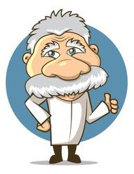 Einstein Styled Cartoon Professor