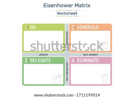 Eisenhower Matrix, urgent important matrix, Prioritize task, Task Management, Project Management, Process infographics Stockfoto ©