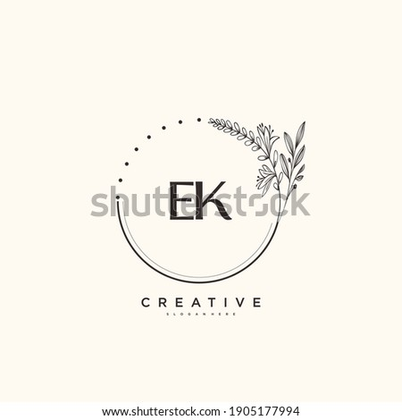 EK Beauty vector initial logo art, handwriting logo of initial signature, wedding, fashion, jewerly, boutique, floral and botanical with creative template for any company or business. Stok fotoğraf ©