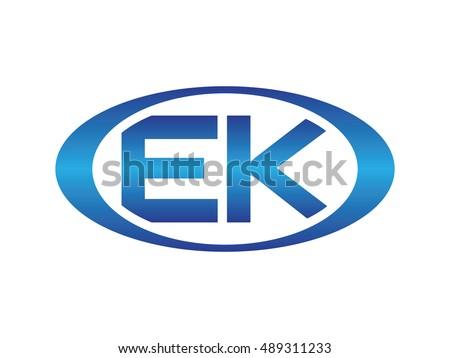 EK-letter abbreviations blue oval logo Stok fotoğraf ©