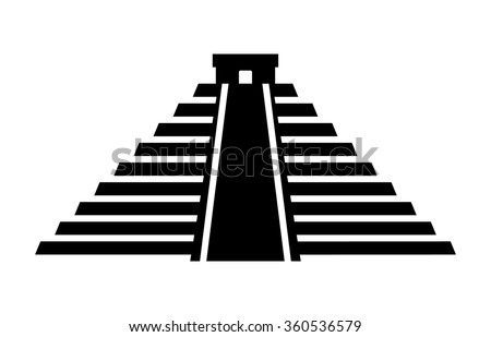 El Castillo pyramid in Chichen Itza flat vector icon for apps and websites