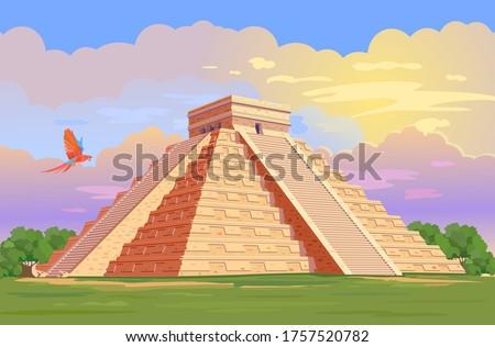 El Castillo (The Kukulkan Temple) of Chichen Itza, mayan pyramid in Yucatan, Mexico. Vector Illustration of ancient Mayan pyramids in the jungle in daytime