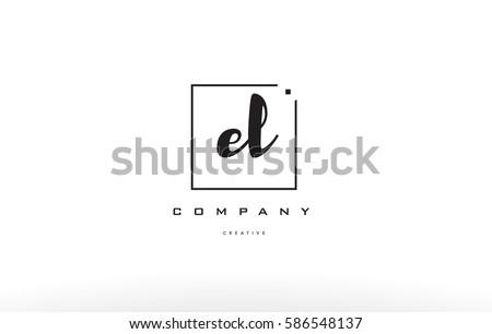 el e l hand writing written black white alphabet company letter logo square background small lowercase design creative vector icon template  Stock fotó ©