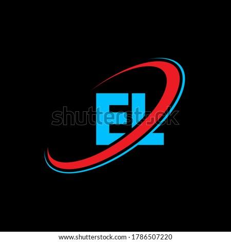 EL E L letter logo design. Initial letter EL linked circle uppercase monogram logo red and blue. EL logo, E L design. el, e l Stock fotó ©
