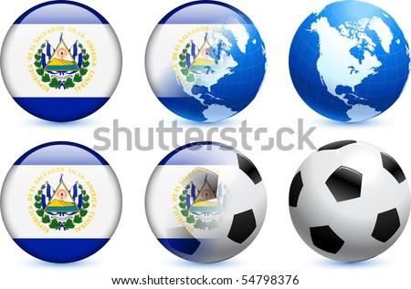 El Salvador Flag Button with Global Soccer Event Original Illustration