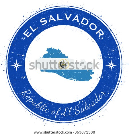 El Salvador. Grunge rubber stamp with country flag, map and the El Salvador written along circle border, vector illustration