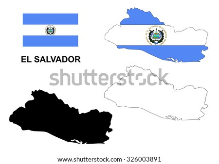 el salvador map vector  el