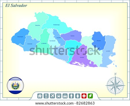 El Salvador Map with Flag Buttons and Assistance & Activates Icons Original Illustration