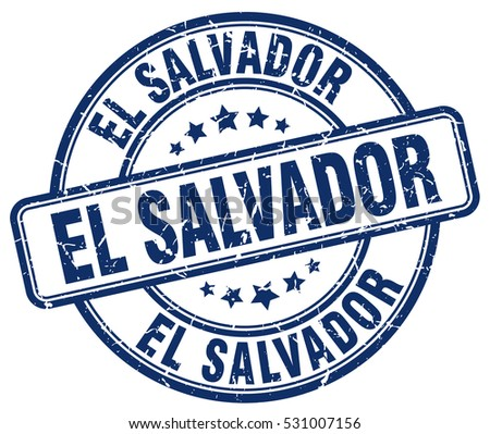 el salvador. stamp. blue round...
